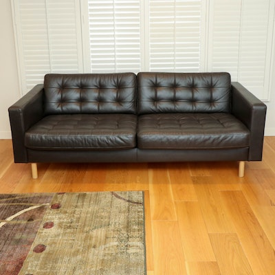 "IKEA ""Morabo"" Modernist Style Dark Leather Sofa"