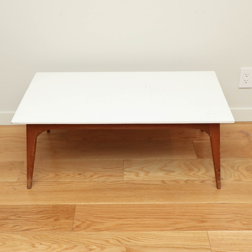 Mid Century Modern Walnut and White-Painted Top Coffee Table