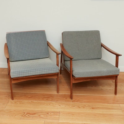 Pair of Mid Century Modern Walnut Spindle-Back Armchairs