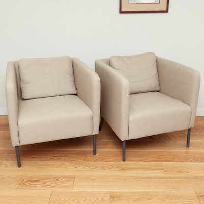 "Pair of IKEA ""Ekerö "" Modernist Beige Armchairs"