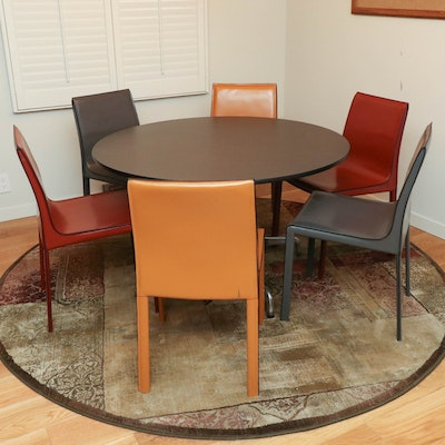 """Colter"" Leather Dining Chairs and Modernist Dining Table on Chrome Base"