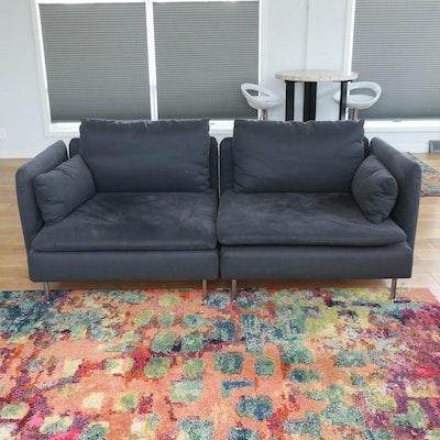 "IKEA ""Söderhamn"" Modern Two-Piece Sofa in Dark Gray"