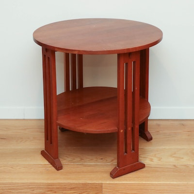 Stickley Arts and Crafts Style Cherrywood Round Two-Tier Side Table, 2005
