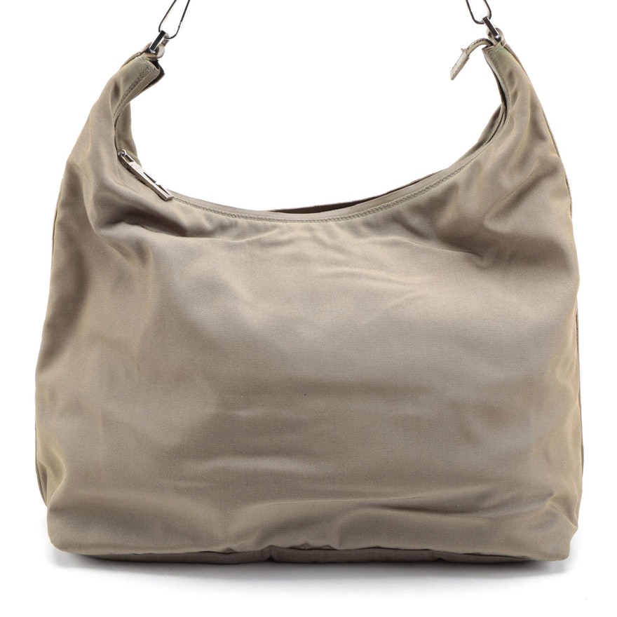 Gucci Nylon and Leather Trim Hobo Shoulder Bag in Khaki