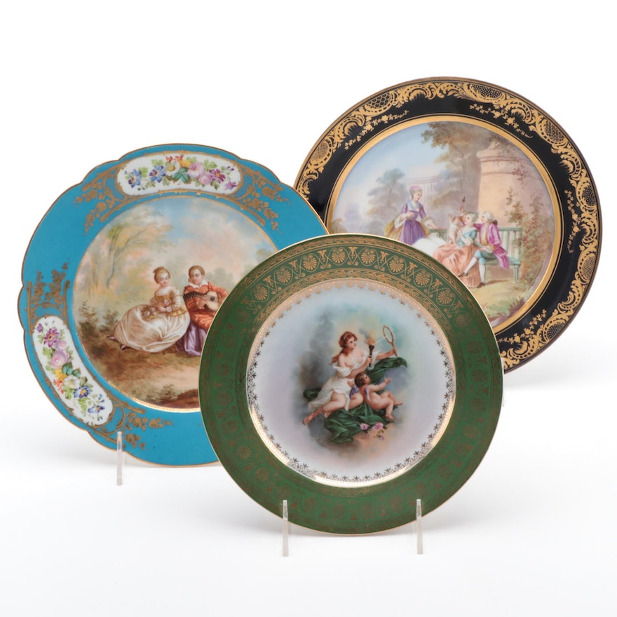 Sèvres and Ackerman & Fritz Porcelain Cabinet Plates, Mid to Late 19th Century
