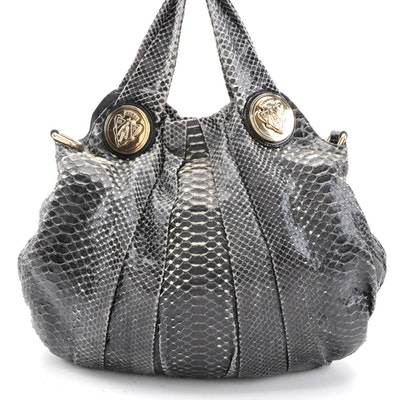 Gucci Hysteria Pleated Python Convertible Hobo Bag