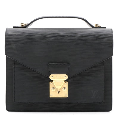 Louis Vuitton Monceau Two-Way Handbag in Black Epi Leather