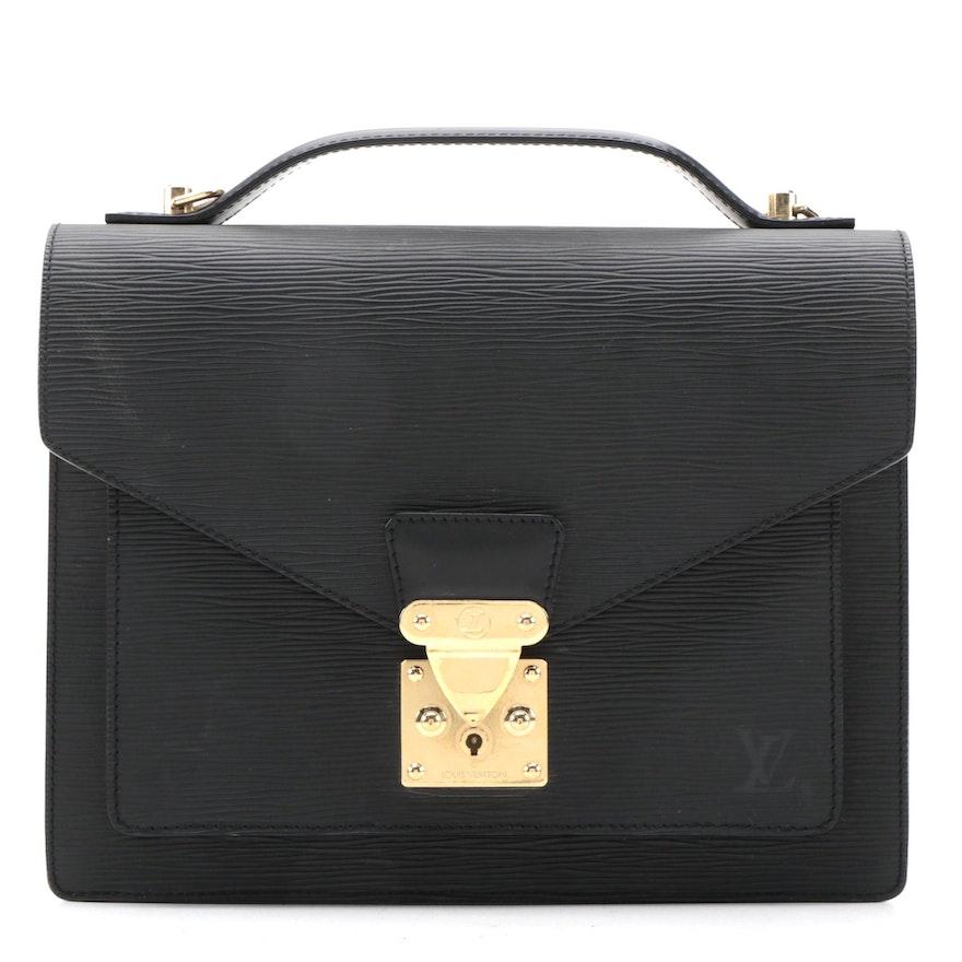 Louis Vuitton Monceau Two-Way Handbag in Black Epi Leather