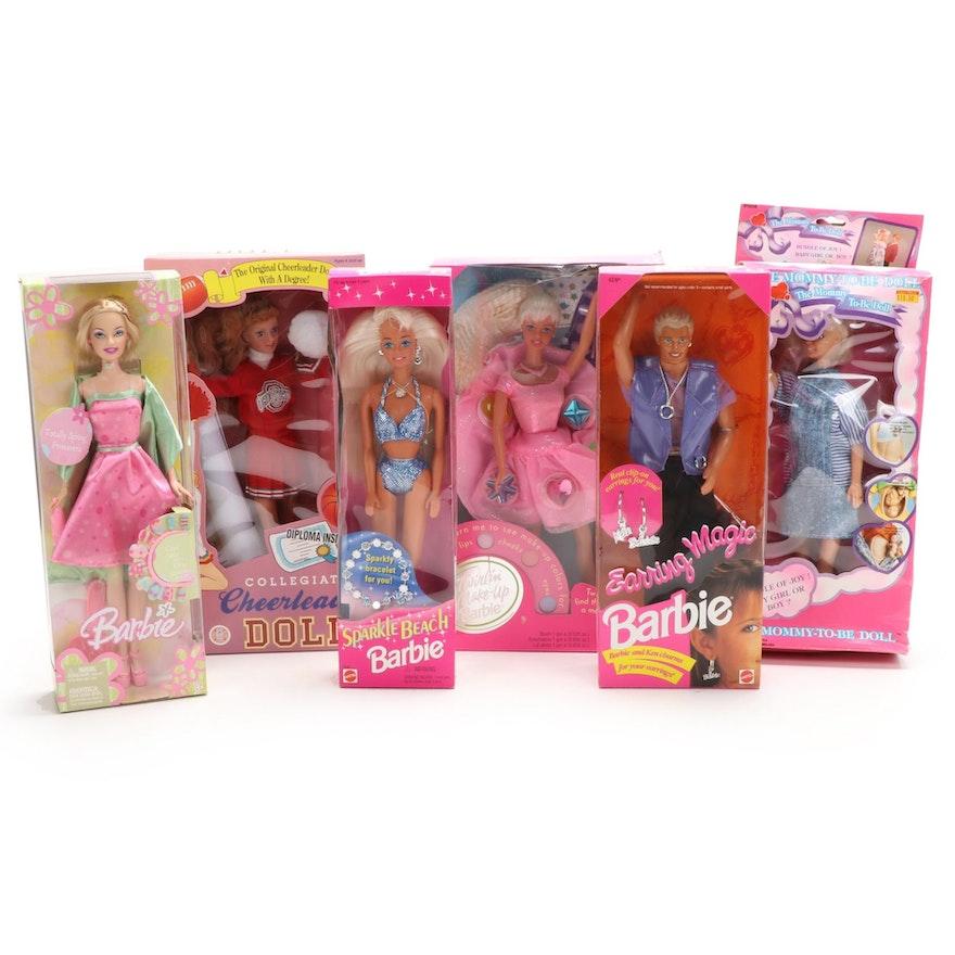 "Mattel Barbie Dolls Including ""Sparkle Beach"" and ""Earring Magic Ken"", 1990s"