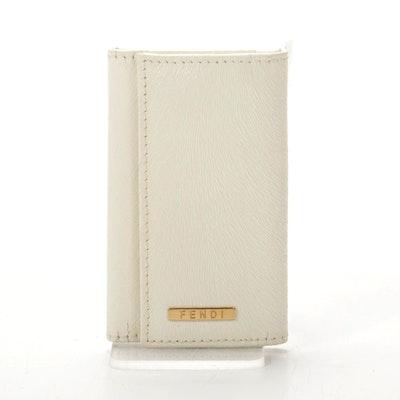 Fendi Six-Key Hook Case in White Textured Leather