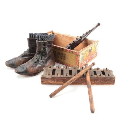 Leather Baby Shoes with Toy Xylophone and Song Flute