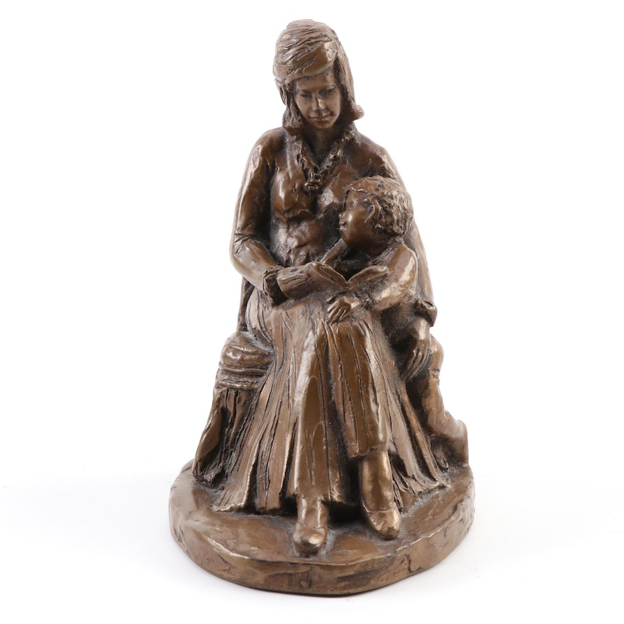 Resin Figure of Mother Reading to Child, Late 20th Century