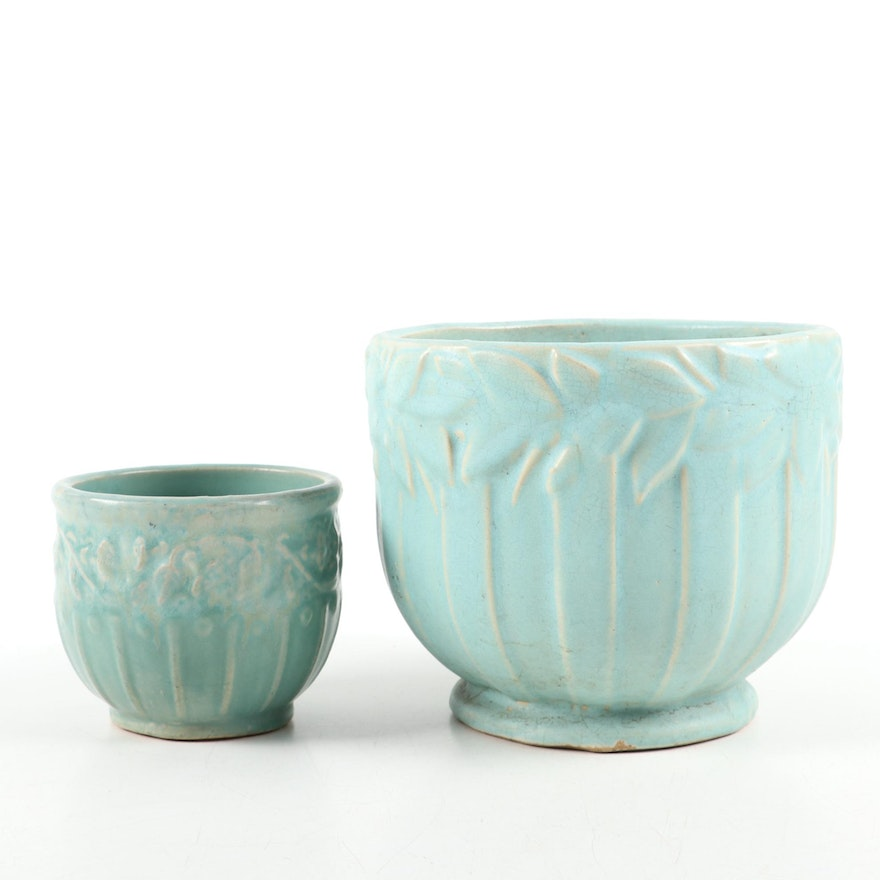 Matte Turquoise Art Pottery Jardinières, Early to Mid 20th Century