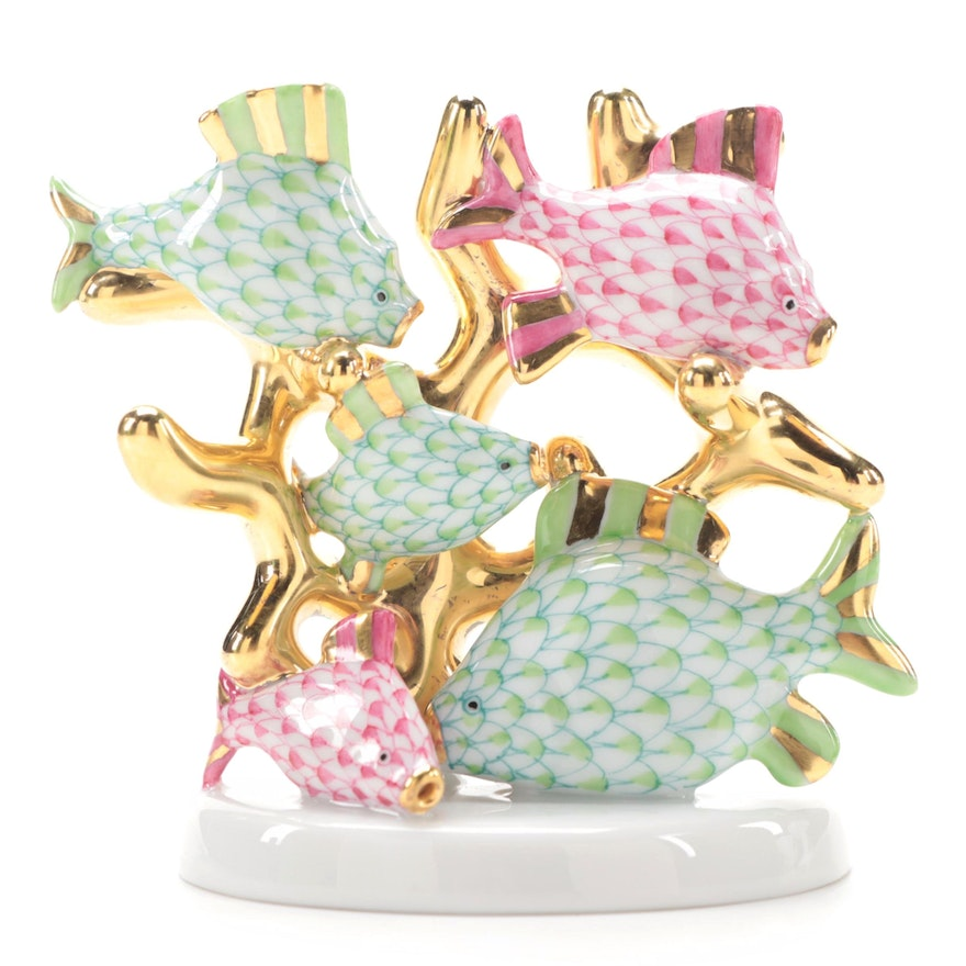 "Herend Raspberry and Key Lime Fishnet ""Coral Fish"" Porcelain Figurine"