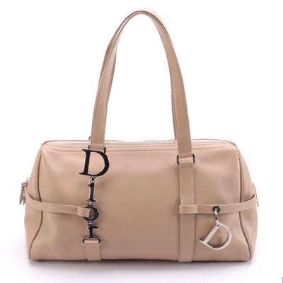 Christian Dior Trotter Shoulder Bag in Beige Grained Leather