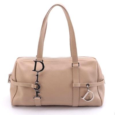 Christian Dior Trotter Shoulder Bag in Beige Grained Leather