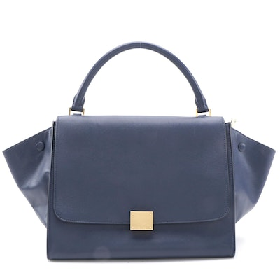 Céline Medium Trapeze Bag in Navy Blue Leather