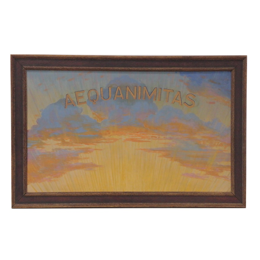 "Sunset Oil Painting ""Aequanimitas,"" Mid-20th Century"