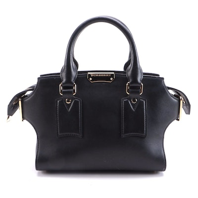 Burberry Small Clifton Convertible Tote in Black Calfskin Leather