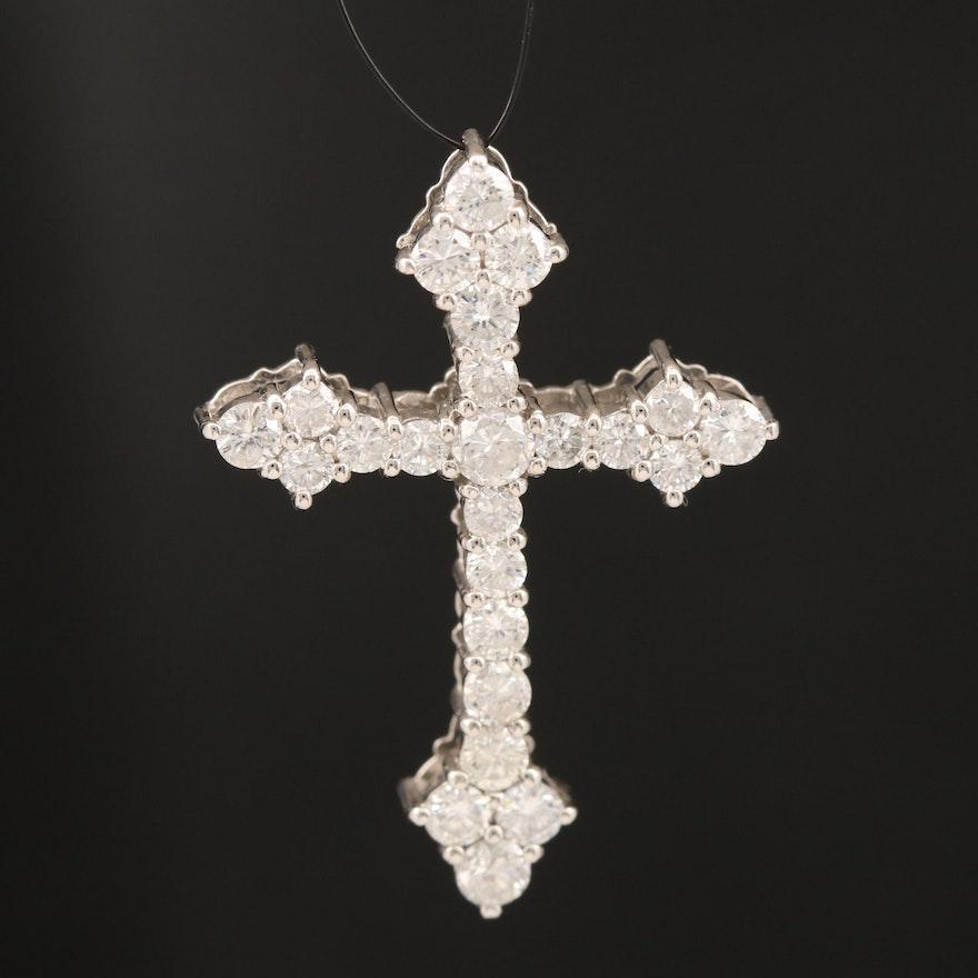 Platinum 1.52 CTW Diamond Cross Pendant