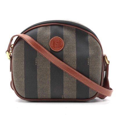 Fendi Pequin Striped Canvas and Leather Crossbody Bag