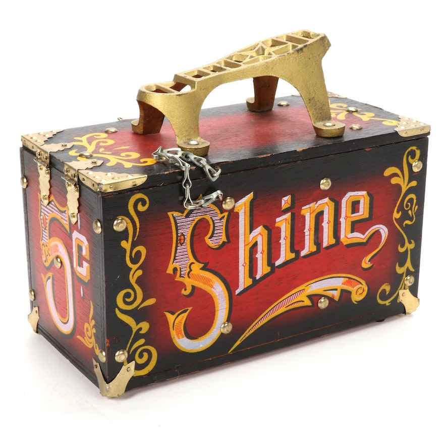 Painted Wood and Metal Five Cent Shoe Shine Box, Late 20th C.