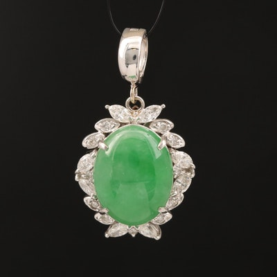 Platinum Jadeite and Diamond Enhancer Pendant