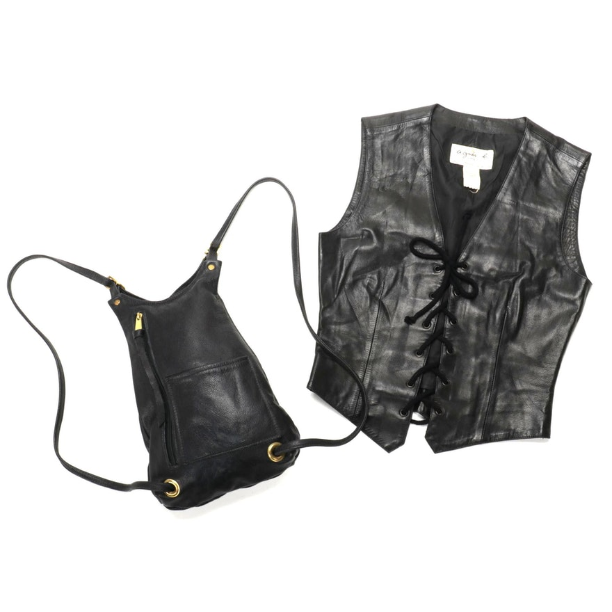 Agnès B. Special Black Lace-Up Leather Vest with Backpack Purse