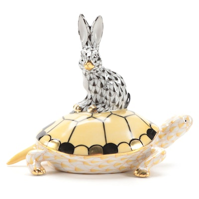 "Herend Black and Butterscotch Fishnet ""Tortoise & Hare"" Porcelain Figurine"