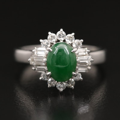 Platinum Jadeite and Diamond Ring