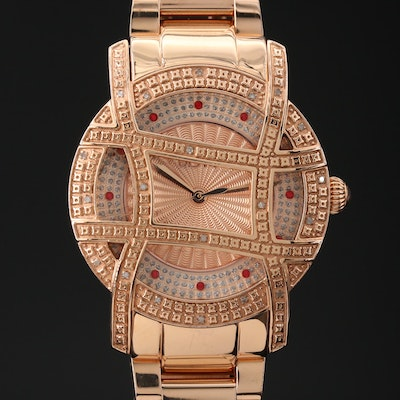 JBW Olympia 10YR Diamond and Topaz Rose  Gold Tone Wristwatch