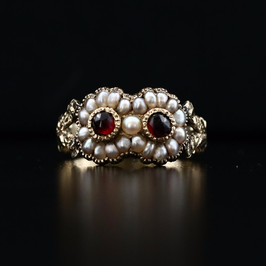 Antique 14K Garnet and Seed Pearl Ring