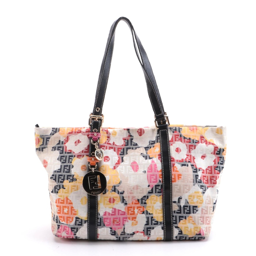 Fendi Forever Shopper Tote in Floral Zucchino Canvas