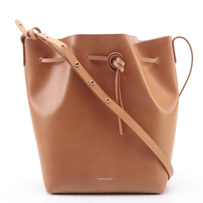 Mansur Gavriel Tanned Italian Leather Drawstring Bucket Bag in Cammello/Rosa