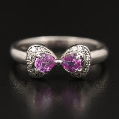 Platinum Pink Sapphire and Diamond Bow Ring