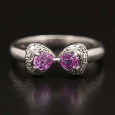 Platinum Pink Sapphire and Diamond Bow Ring