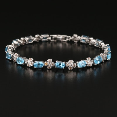 Sterling Silver Topaz and Sapphire Link Bracelet