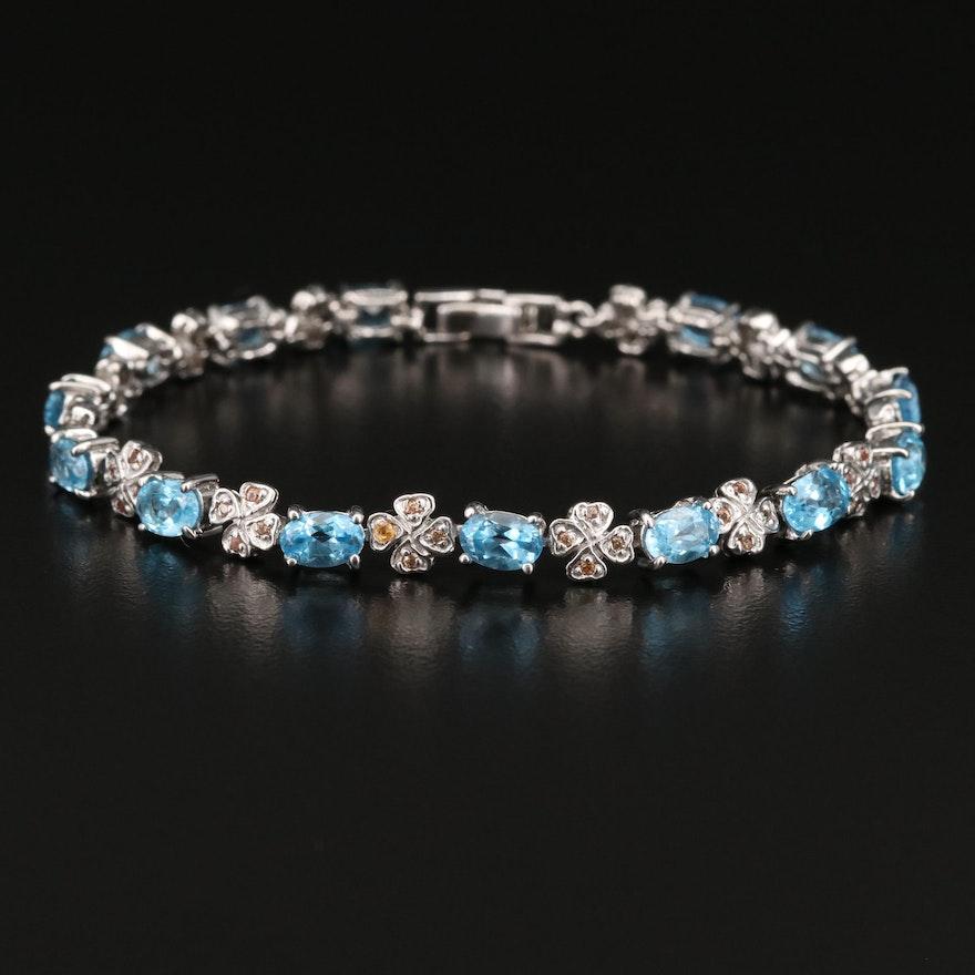 Sterling Silver Topaz and Sapphire Link Bracelet
