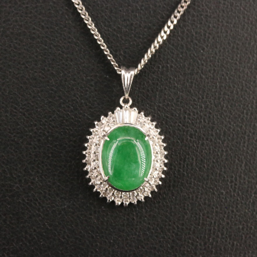 Platinum Jadeite and Diamond Double Halo Necklace