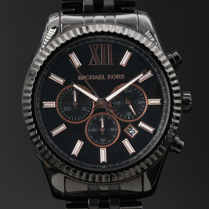 "Michael Kors ""Lexington"" Chronograph Black Plated and Stainless Steel Wristwatch"