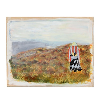 Landscape Acrylic Painting of Figure on Hilltop, 21st Century