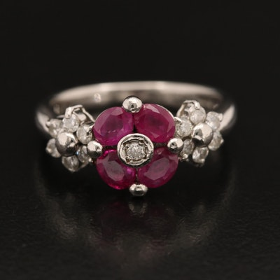 Platinum Ruby and Diamond Floral Ring