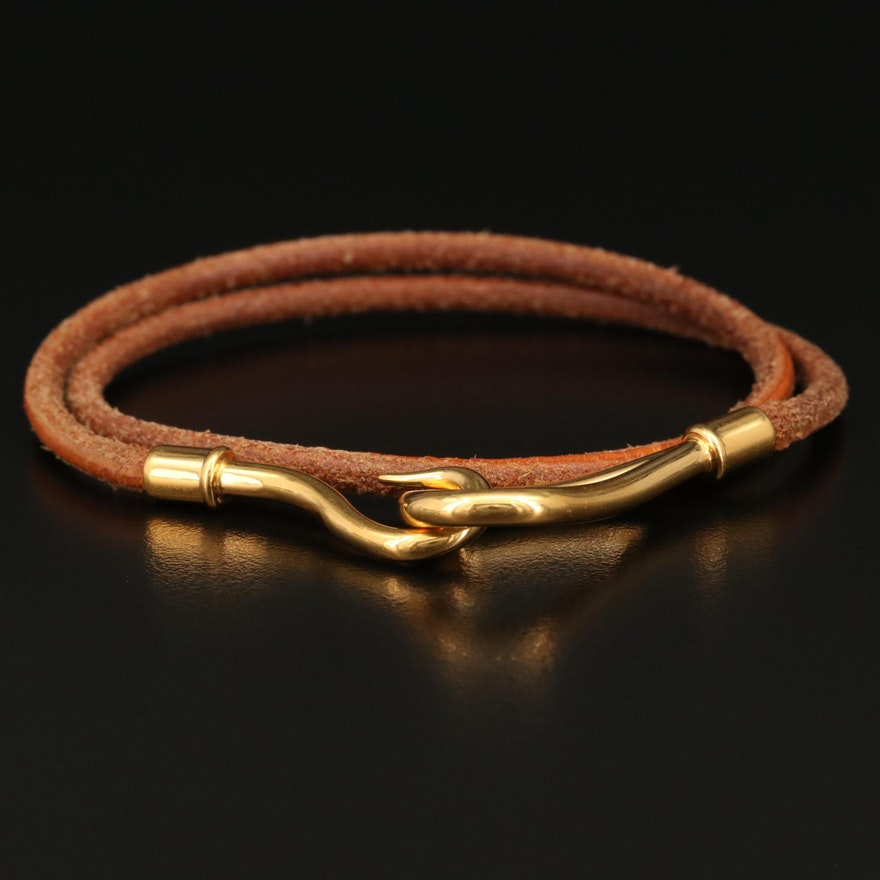 Hermès Leather Jumbo Hook Double Wrap Bracelet