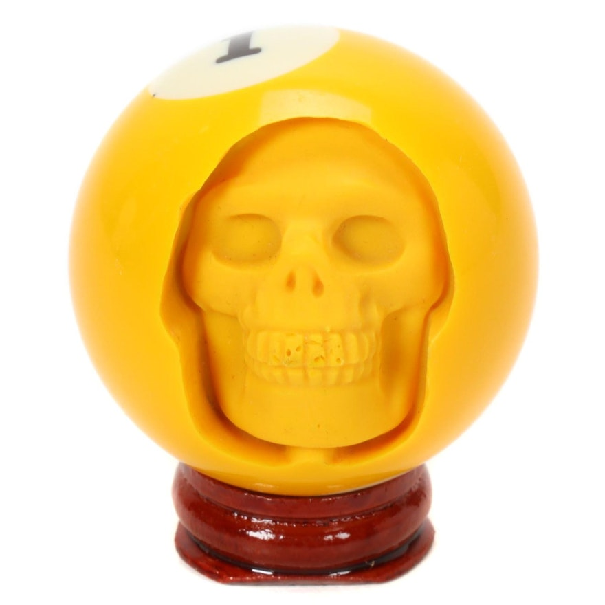 Billiard Yellow 1 Ball Skull Carving on Stand