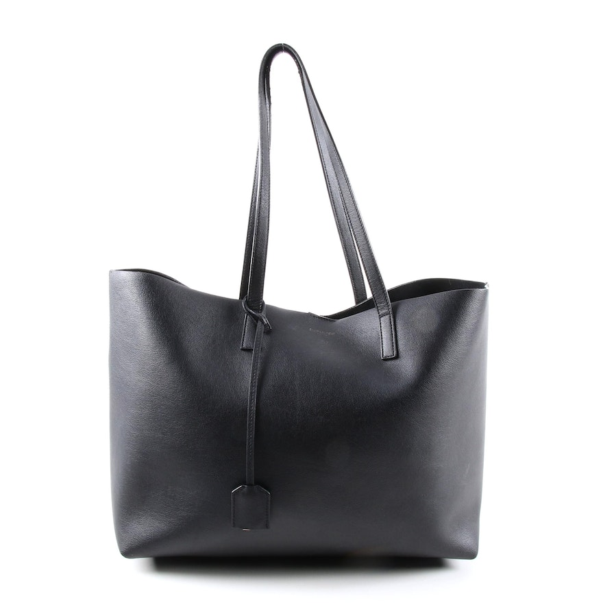 Saint Laurent Shopper Tote in Black Grained Leather