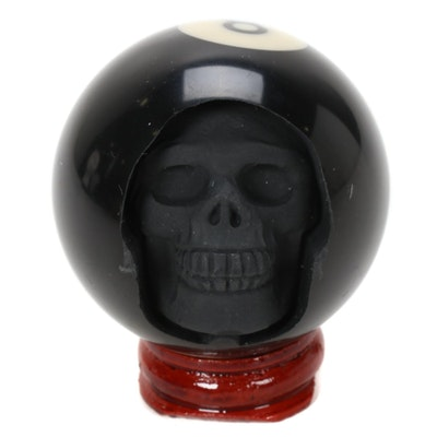 Billiard 8 Ball Skull Carving on Stand