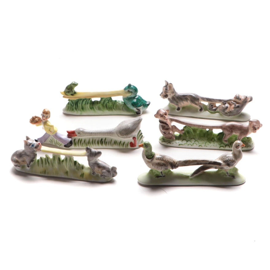 Ernst Bohne & Söhne and Other Porcelain Animal Knife Rests, Early 20th C.