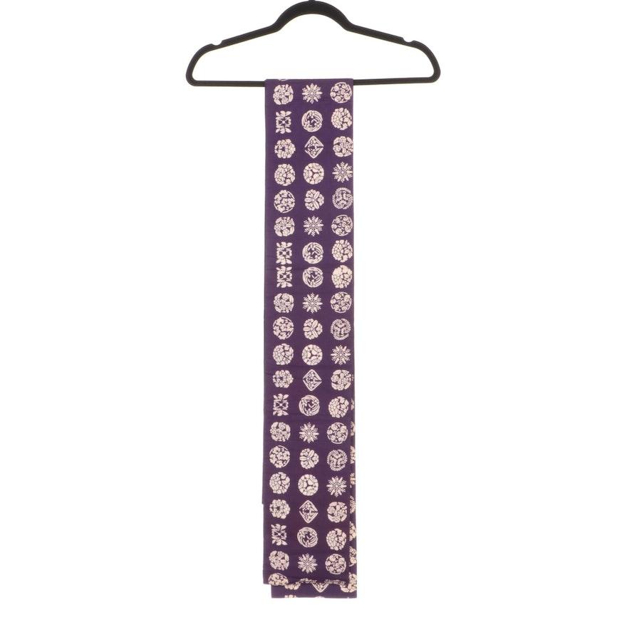 Purple Woven Foliate and Snowflake Mon Motif Hanhaba Obi, Shōwa Period