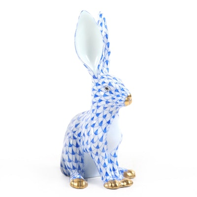 "Herend Sapphire Fishnet with Gold ""Jack Rabbit"" Porcelain Figurine"