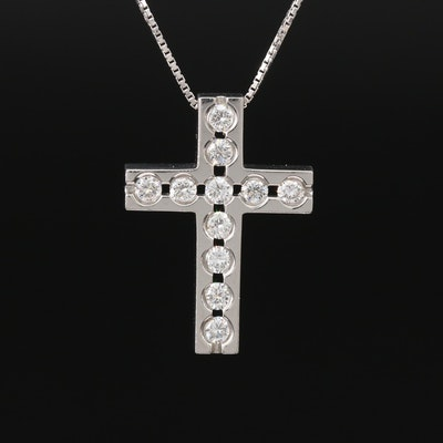 Platinum Diamond Cross Pendant Necklace